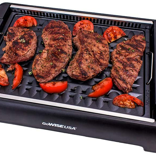 Black Large 20 Recipes GoWISE USA GW88000 2-in-1 Smokeless Indoor Grill and Griddle with Interchangeable Plates and Removable Drip Pan