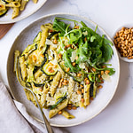 Grilled Vegetable Salad with Chunky Pesto and Burrata