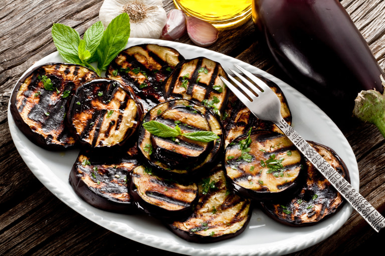 Grilled Aubergine with herb and Butter